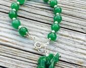 Green Bracelet - Jade Gemstone Jewelry - Elephant Jewelery - Beaded - Sterling Silver - Chunky