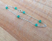 Chrysoprase Bracelet - Green Bracelet - Chrysoprase and Sterling Silver Jewelry - Gemstone - Chain Jewellery