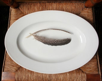 Antique ironstone platter Haviland platter, CFH, antique platter, wedding ring pattern, French ironstone