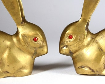 Brass rabbits, vintage rabbit figures, rabbit figurines, vintage brass animals