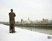 Winter Prague panorama, Sri Chinmoy statue, winter landscape, cityscape, snow, winter in Prague, title: Quite Prayer