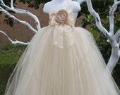 Flower girl dress. All Champagne Tutu Dress. Vintage dress ,baby tutu dress, toddler tutu, wedding, birthday,clothing,toddler,bridesmaid