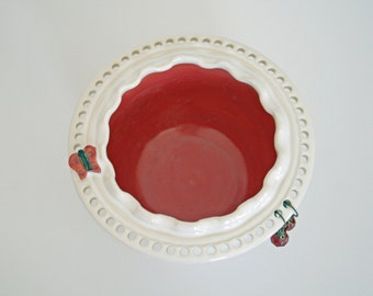 Glossy White Ruffled Rim Earring and Jewelry Bowl - MADE TO ORDER