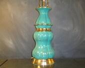 Large Vintage Retro Ceramic Table Lamp-Turquoise Gold Metallic-Mid Century-Hollywood Regency-Speckled