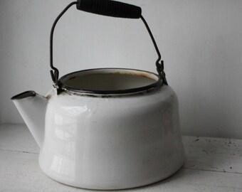 Vintage Enamel White Pot with Black Trim