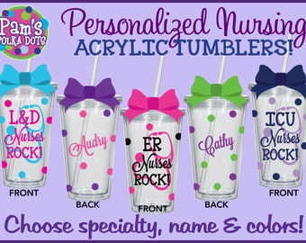 NURSES ROCK! Personalized  NURSING Clear Acrylic Tumblers w/ Name Stethoscope Nurse Nursing Student Gift Polka Dots Emergency Specialty