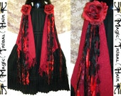 GOTHIC BELLY DANCE hip tassel & hair accessory Red Passion Nostalgia Tribal Fusion hair piece Fantasy yarn fall Red black hip belt adornment