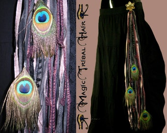 STEAMPUNK Peacock Feather YARN FALL Vintage belly dance hair piece Tribal Fusion hip belt accessory Belly Dance costume tassel for hip scarf