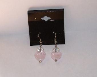 """Pink Glass Heart  w/  Crystal  1"""" L. x  1/2"""" W. Earrings"""