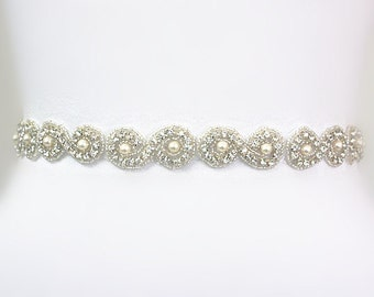 Bridal Crystal Rhinestone Sash, Rhinestones Wedding Sash, Ivory Pearls Beaded Bridal Belt, Wedding Belt