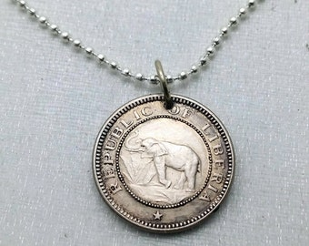 ELEPHANT COIN necklace - African elephant - Palm Tree necklace - Elephant jewelry - antique 1941 Liberia coin - Africa necklace