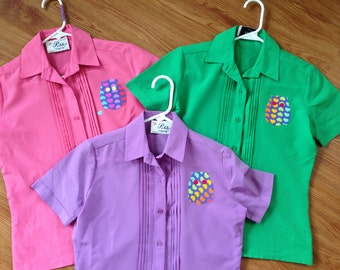 Colorful Trio Vintage Blouses w Owl Applique / Pink, Purple, & Green Blouse Set / Gift for Mom / I Love Owls / Petite Vintage Matching Tops