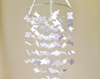 Whimsical White Butterfly Mobile DIY Kit /// Nursery Decor, Photo Prop, Mobile.