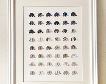 3D Elephant Wall Art /// 14in x 18 in // Matted and Framed