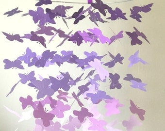 The Unicorn Purple Graduated Butterfly Mobile DIY KIT / / / Nursery Decor, Photo Prop, Mobile.