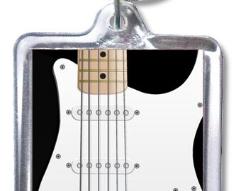 Black Electric Guitar Double-Sided Acrylic Keychain