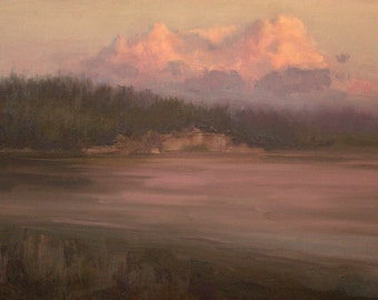 Original painting of a sunset landscape