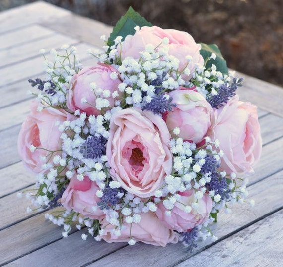 Bridal Bouquets With Cabbage Roses : Bridal bouquet made with pink cabbage roses peony buds