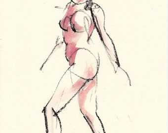 "Gesture 336 original figure gesture watercolor and charcoal 7.5"" x 10.5"" Unframed"