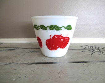 Hazel Atlas Apple Bowl Fire King Apple Bowl Red Kitchen Milk Glass Bowl Red and Green Apples Vintage Kitchen Kitchen Bowl Milk Glass Bowl