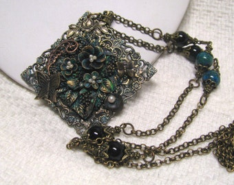 Art Nouveau Aqua Patina Butterfly Flower Garden Necklace, Chrysocolla Black Onyx Beads, Patina Square Flower Cameo