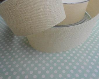 "Canvas Tape Ivory Cotton 1  1/4""width 5yds"