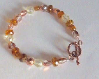 Copper Crystal, Gold Glass, Multicolored Bracelet, Honey Crystal, Copper Toggle Clasp