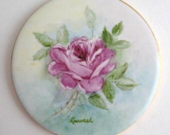 Hand Painted FLORAL ROSES Porcelain Tile H & R Johnson Wall Art Plaque