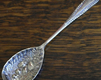 antique silver plate berry spoon
