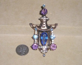Vintage Sterling Silver Brooch Chinese Lantern With Rhinestones Glass 1940's Signed Jewelry B7