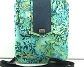 SALE ITEM/ Batik Camera Case / Turquoise and Blue Small Tote / Cotton Batik and Leather Pouch