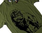 Lion with Glasses T Shirt - S M L XL 2X (15 Color Options)