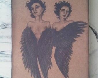 Original Art 8x10 Blackbird Women