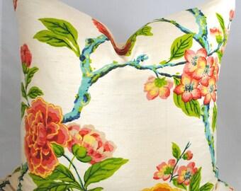 NEW-Designer PIllow Cover-20x20-Silk Pillow-Red PIllow-Blue Pillow-Floral PIllow
