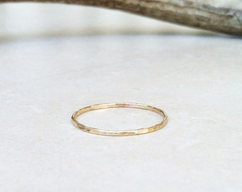ONE 14K Solid Gold Hammered Stacking Ring