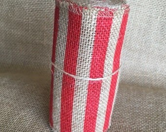 "Red Stripe Burlap Ribbon 5.5"" x 10 ft Wedding Decor Jute Wreath Spring Summer July 4th Hero Military"