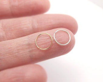 22, 24g Gold & Silver Nose Rings /Cartilage/Tragus/Helix MIXED SET- Gold Filled 14k, Sterling Silver Hoop Size 6mm 8mm 10mm, Body Piercing