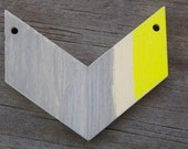 10 Wood Chevron Pendants Handpainted Yellow and Grey 4.5cm, 10pcs Discounted Price