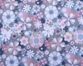 "W276A  - Vinyl Waterproof Fabric - Flowers (grey) - 27""x19""(70cmX50cm)"