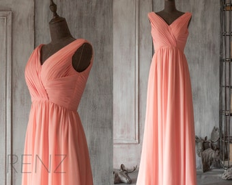 Bridesmaid Dress Light Coral Chiffon Wedding Dress,V Neck Party Dress,Ruched Womens Formal Evening Dress,Maxi Dress Floor Length (F126)-RENZ