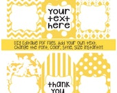 Yellow gift tags; DIY add own text; instant edit & print gift tags; gift tag; polka dot; stripe; patterned gift tag; printable tags;