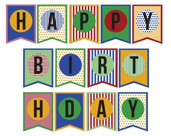 DIY Happy Birthday Banner; instantly download and print; DIY print & cut; Birthday banner; Celebrate; party decor; red, blue, yellow, green