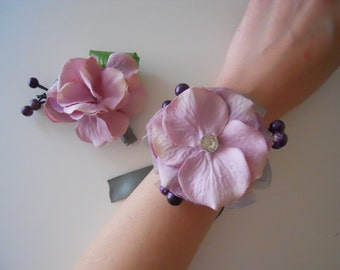 Pale Pink Hydrangea Wrist Corsage and matching bout with Rhinestone Accent