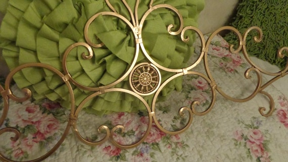 Hollywood Regency Scrolled Metallic Gold Wall Wrought Iron