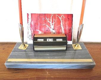 Perpetual Calendar Double Pen Holder Retro Office Marble Base 1960 Office Supply