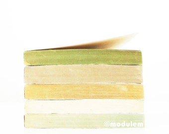 An Afternoon in Edinburgh - Contemporary art print, beige, green, poster, pistachio, white, grey, gray, stacked books, 8x8, 8x10