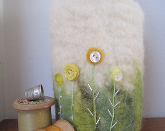 Felted vase cover with stitched and button detail, felted vessel, unique handcrafted gift, handmade gift, flower vase