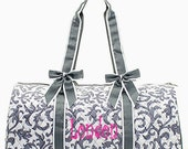 Personalized Quilted Large Damask Duffel Bag Gym Dance or Overnight Gray & White Monogrammed FREE