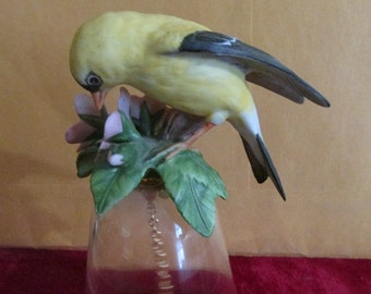 Glass Bell, Porcelain Bird Figurine, Made in Japan, Bisque Bird Figurine, Goldfinch Bird Bell