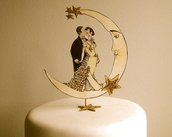 Wedding Cake Topper -Art Deco - Great Gatsby - - Bride and Groom Cake Topper - Glitter 14 Karat Gold